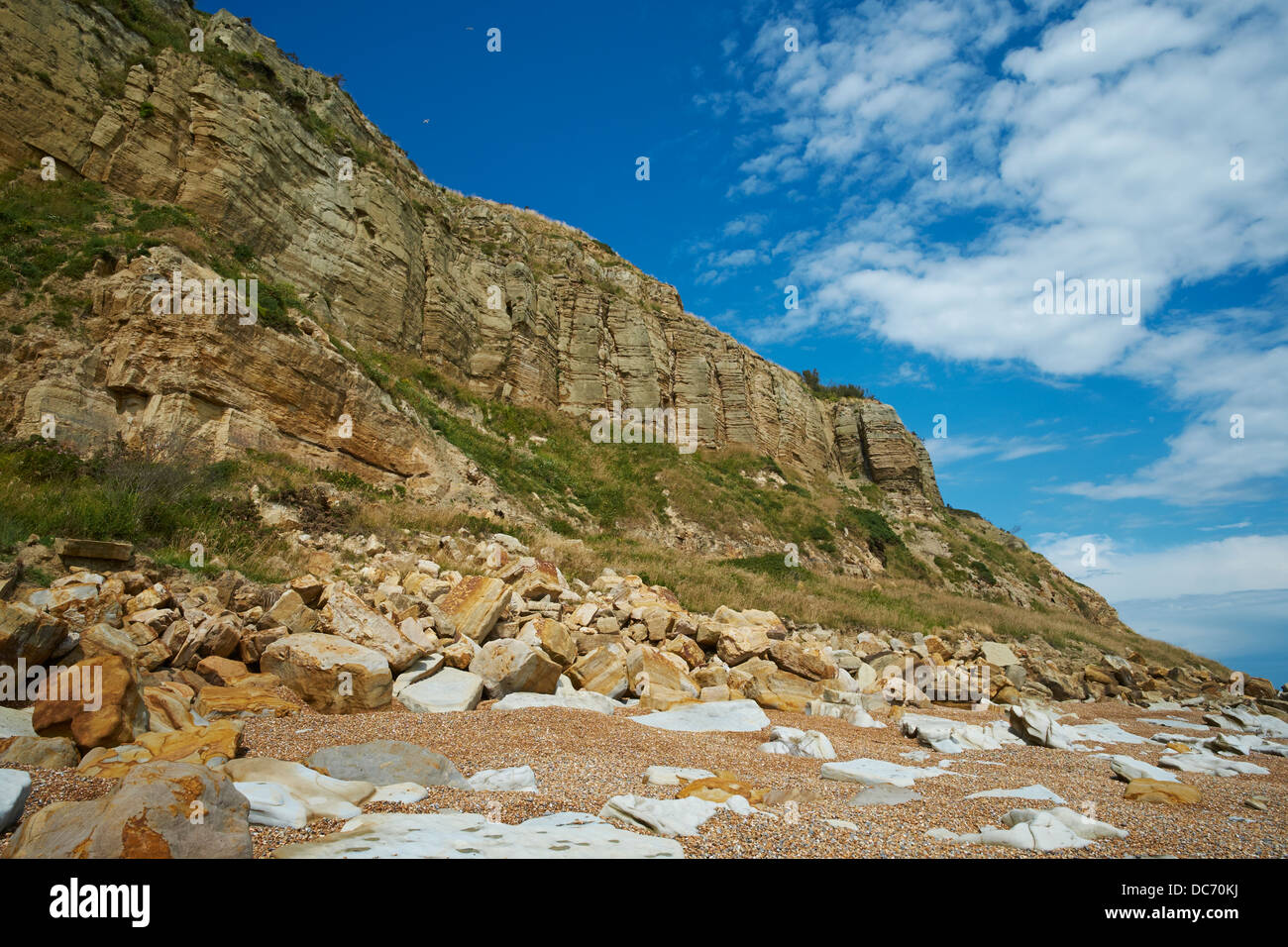 The cliff face with fallen rocks Rock-A-Nore Hastings Sussex - Stock Image