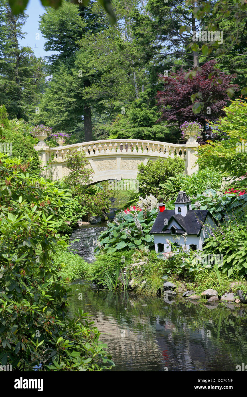 Ornamental bridge and stream in the Halifax Public Gardens, Halifax, Nova Scotia, Canada. - Stock Image