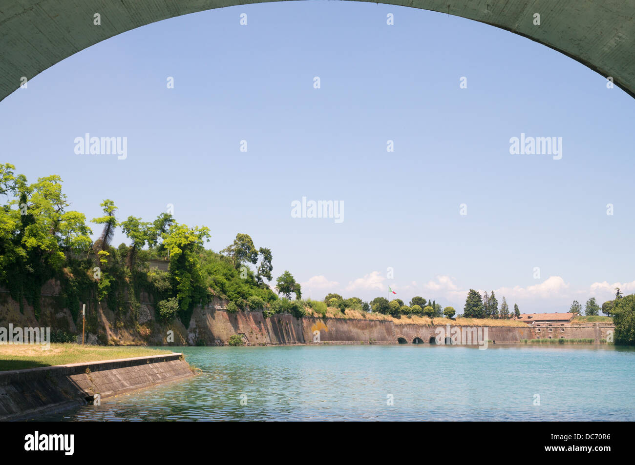 Framed view of the fortifications around Peschiera del Garda, Italy, Europe - Stock Image