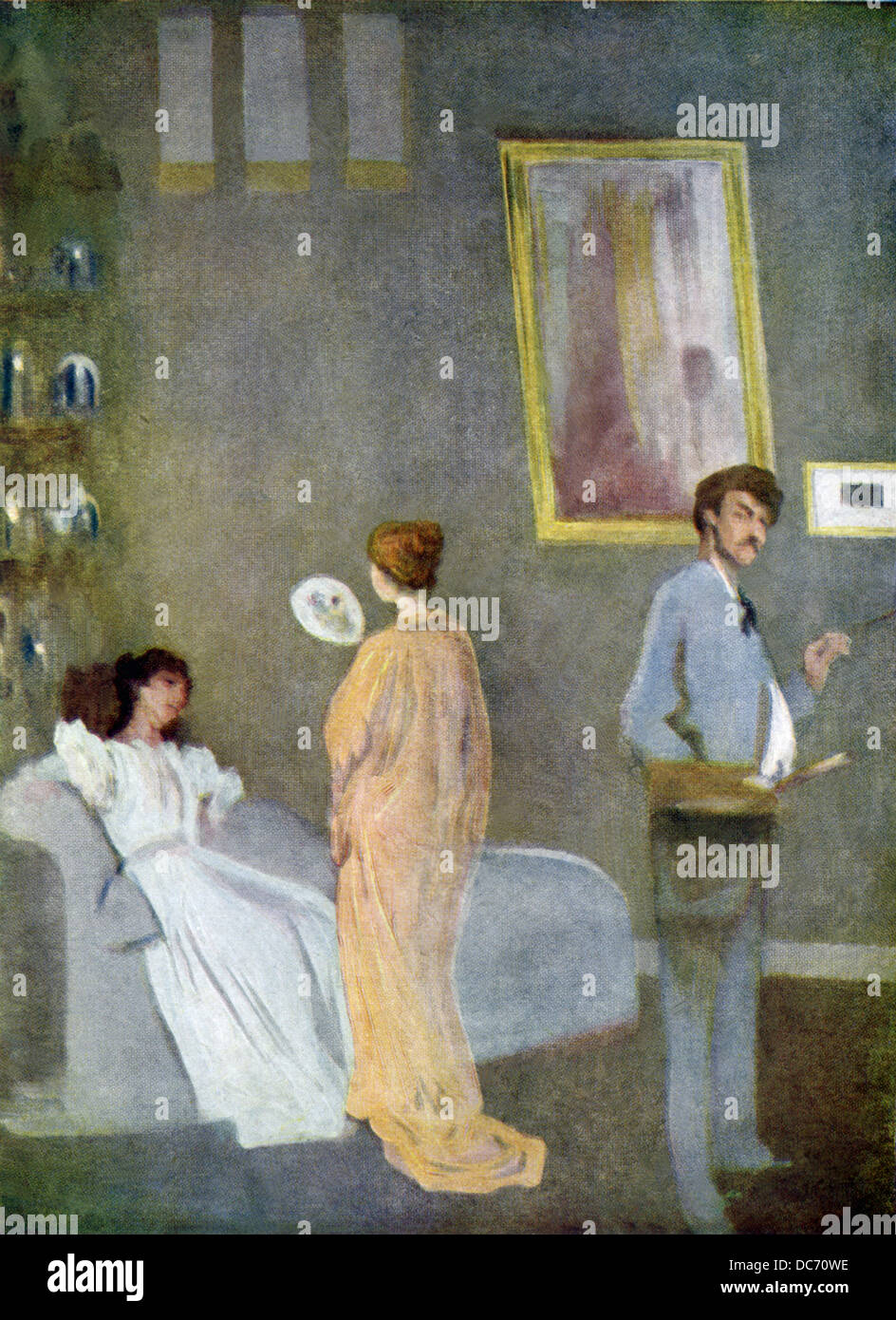 This painting, titled The Artist's Studio, dates to 1865 when American artist James Whistler was in London. - Stock Image