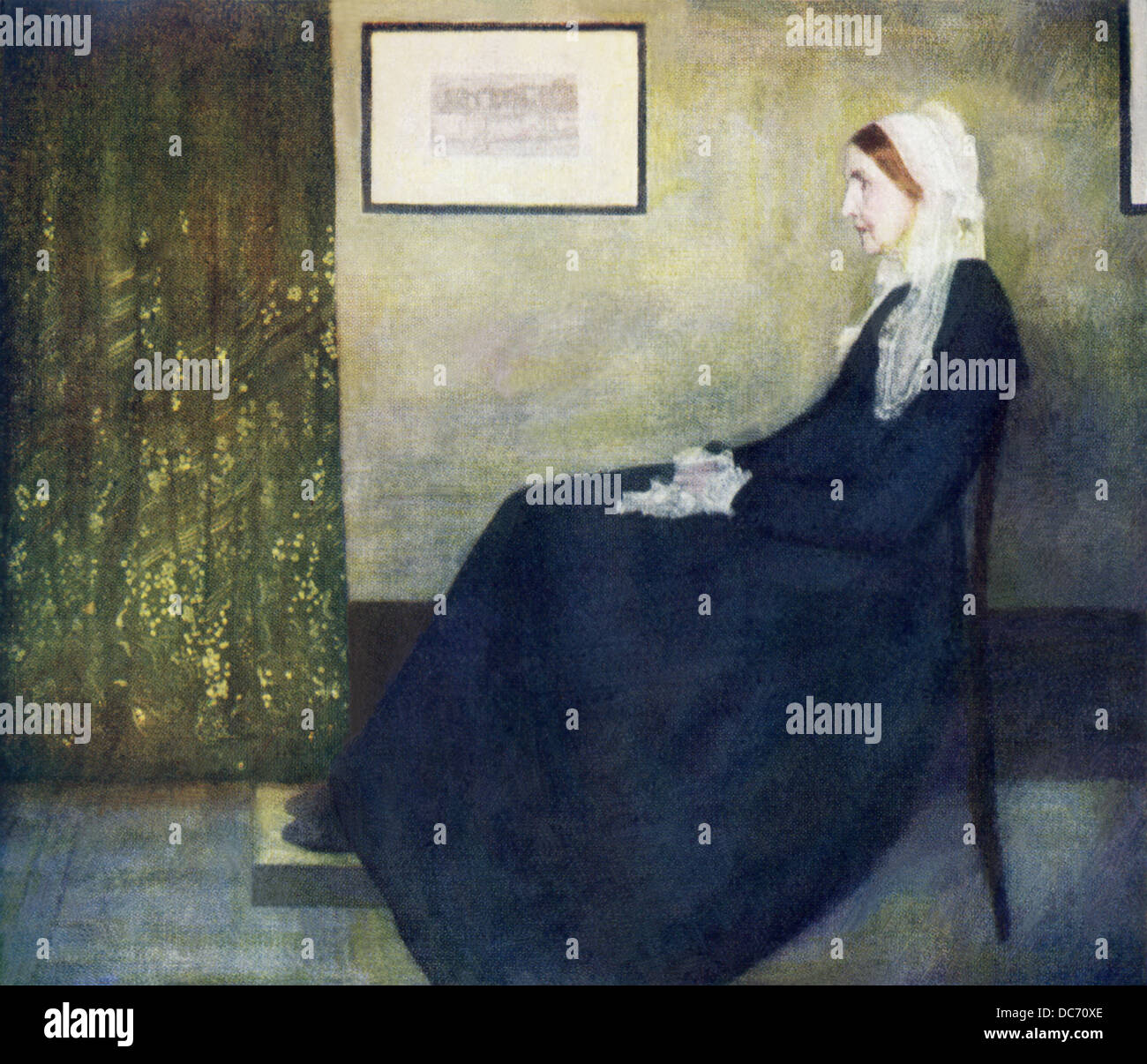 This painting by James Whistler, titled Portrait of My Mother, was first exhibited in the Royal Academy in 1872. - Stock Image