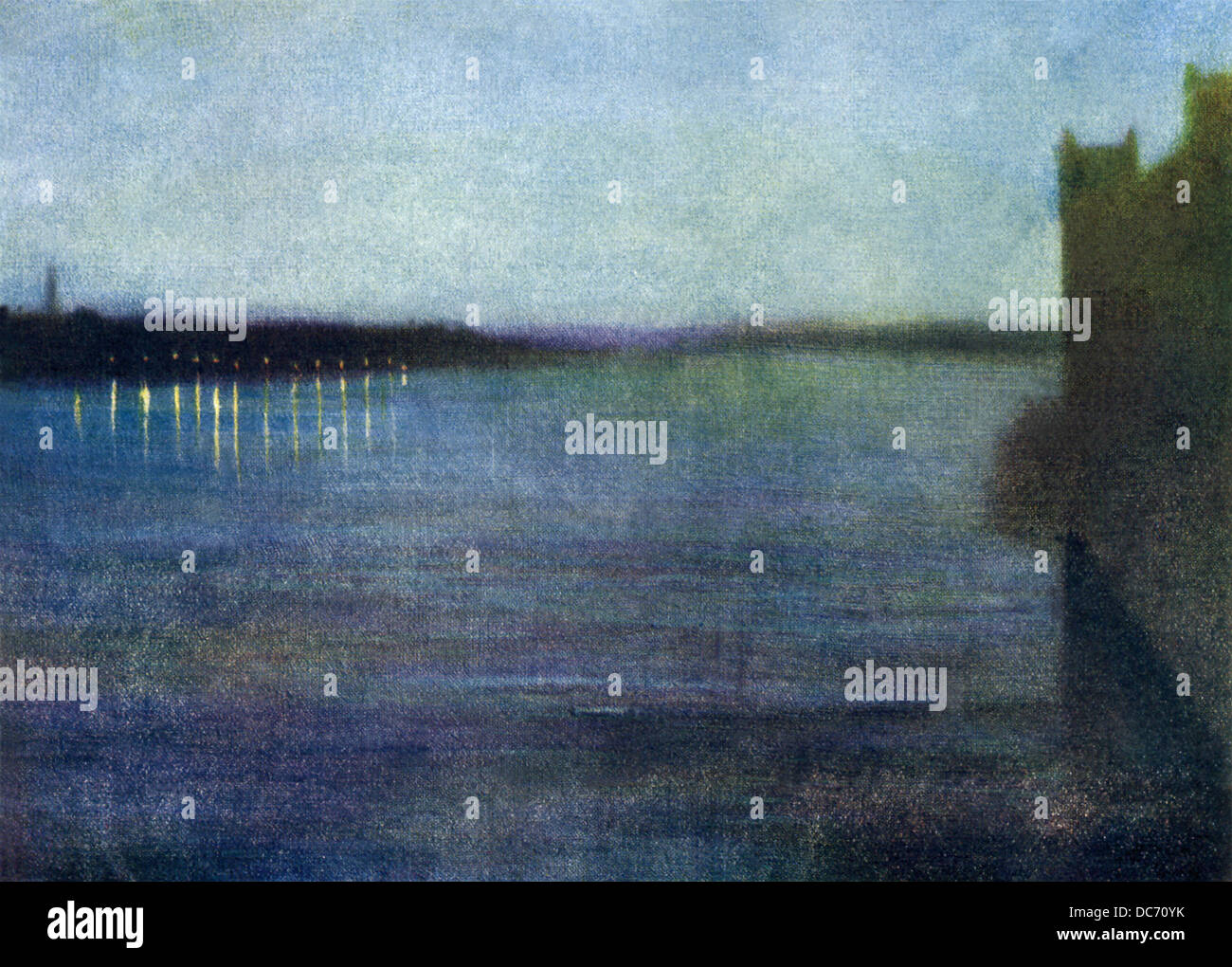 This painting by James Whistler, titled Nocturne Blue and Silver, was painted about 1866 at Westminster, looking - Stock Image