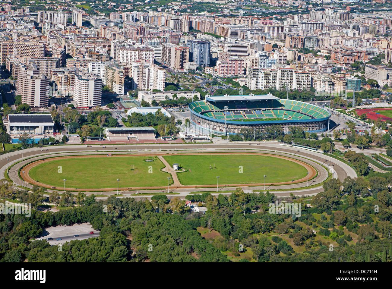 Palermo - stadiums from Mt. Pelegrino - Stock Image