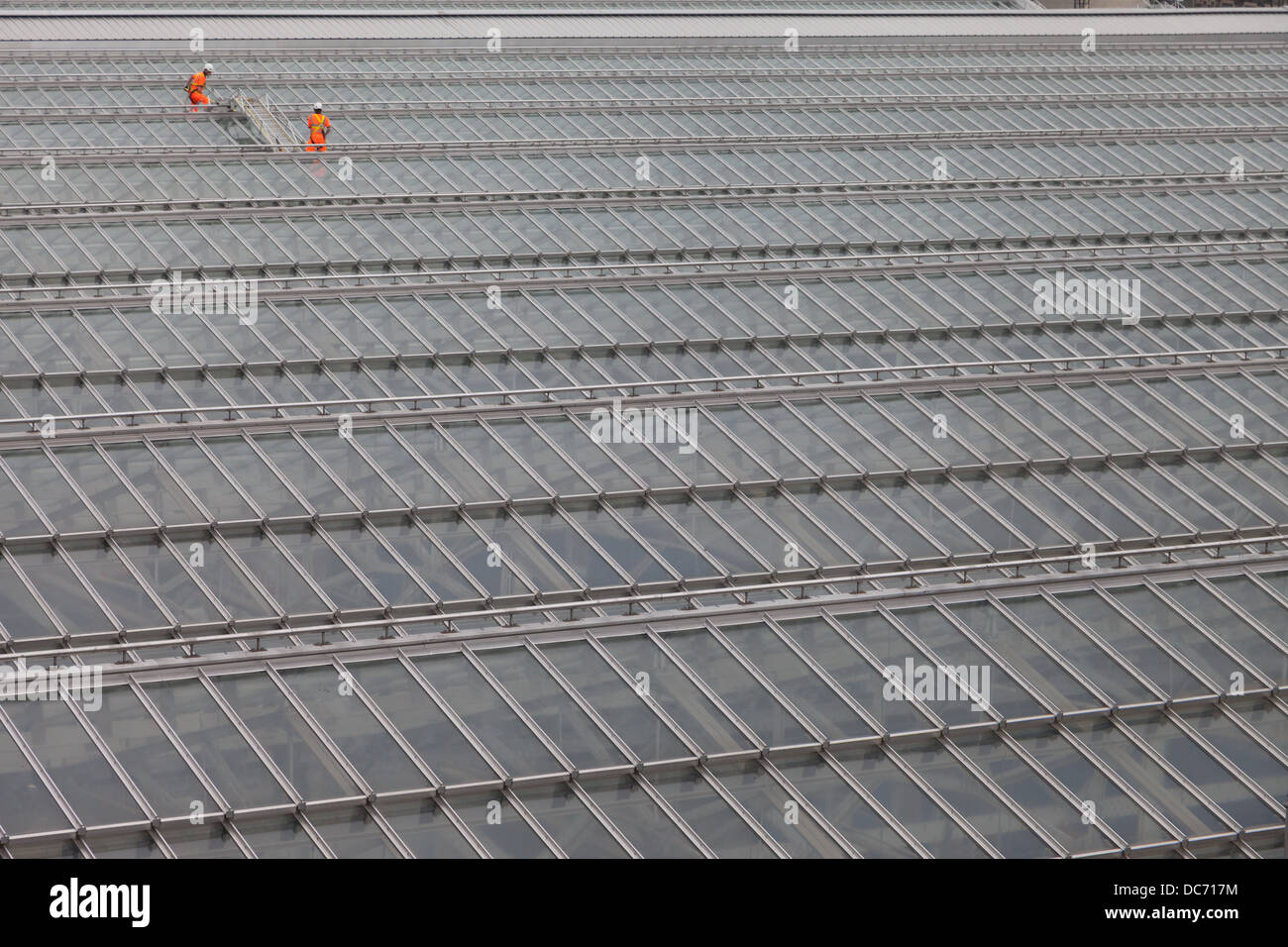 Maintenance workers cleaning the glass roof of Edinburgh's Waverly Station - Stock Image