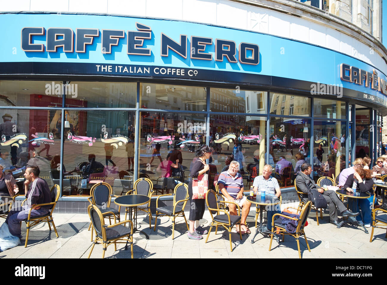 Caffe Nero an Italian Coffee Shop Station Road Hastings Sussex UK - Stock Image