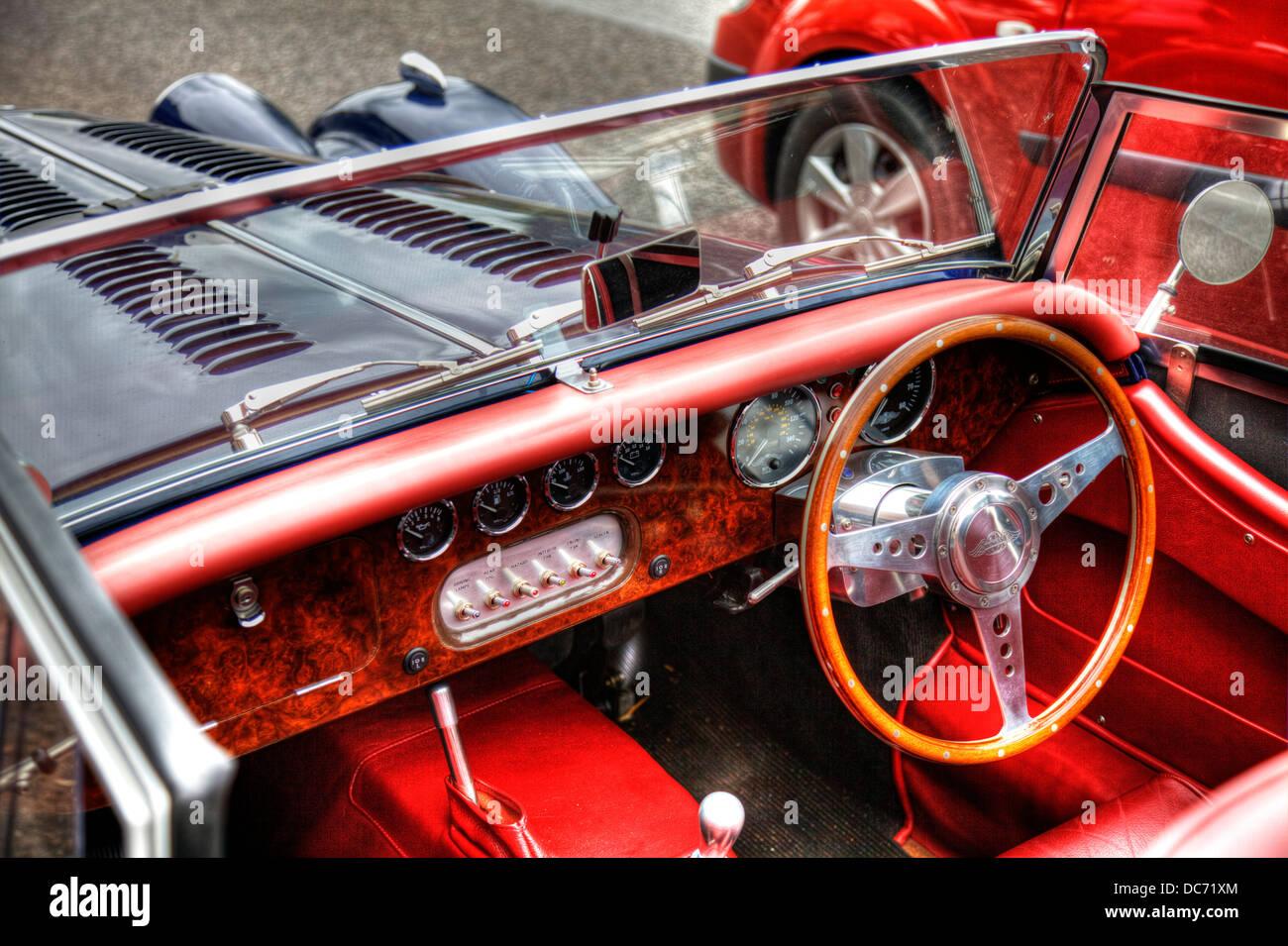 Inside Morgan Sports Car Vehicle Red Interior Walnut Dash Dashboard