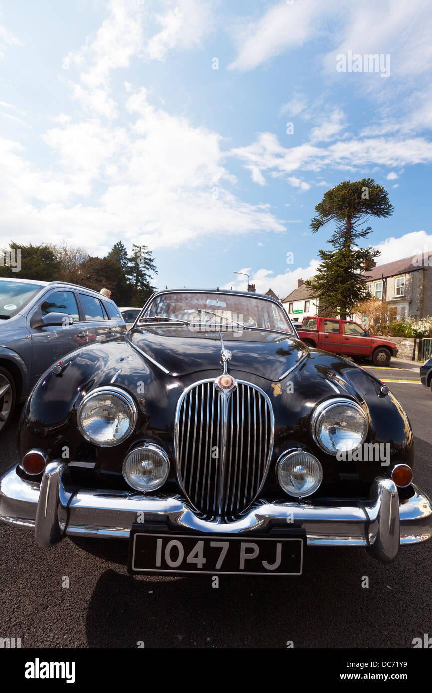 Black Jaguar 3.8 Mk2 mark 2 two old prestige motor car rear end  UK England - Stock Image