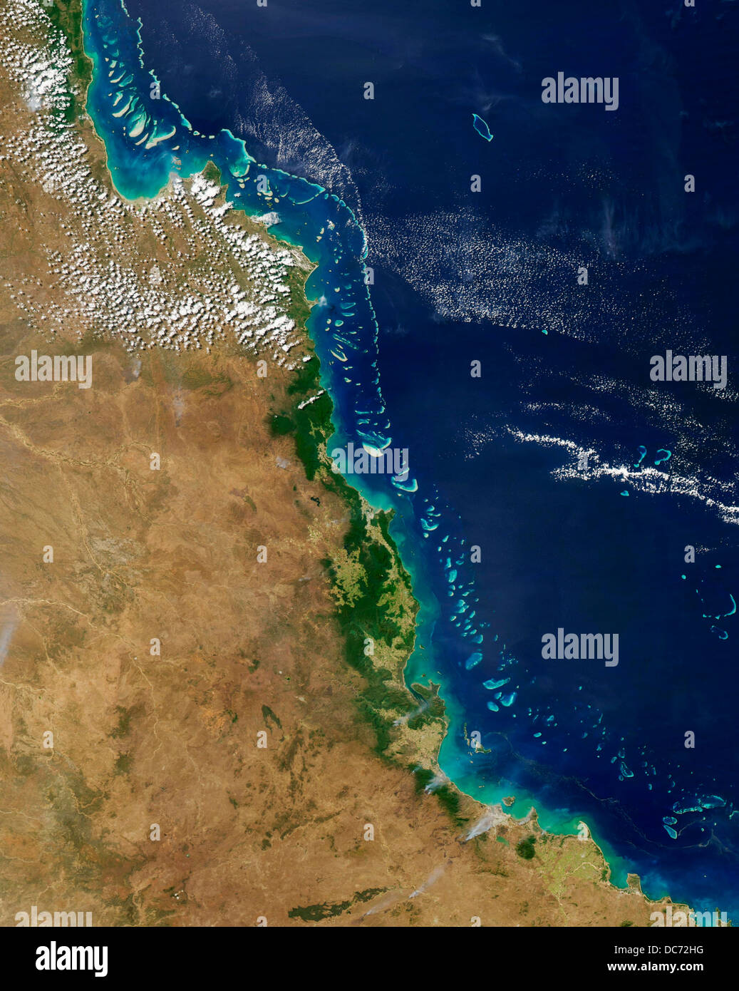 Barrier Reef Australia Map.Satellite View Of The Great Barrier Reef Australia Stock Photo
