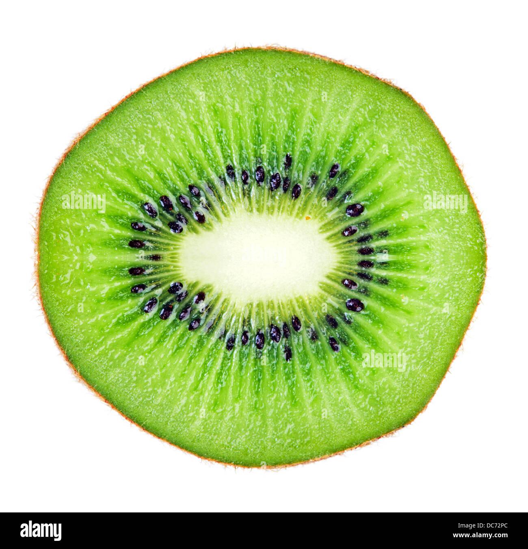 Sliced juicy kiwi fruit macro over white. Huge size image - Stock Image