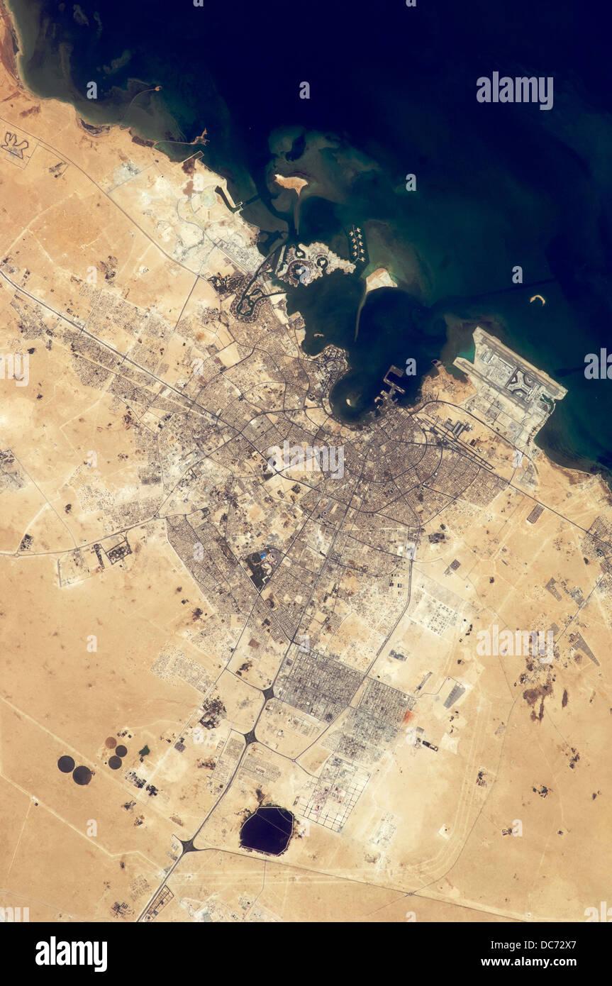 Satellite view of Doha, Qatar - Stock Image