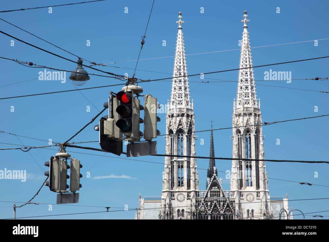 Vienna - towers of Votivkirche neo - gothic church and semaphores - Stock Image