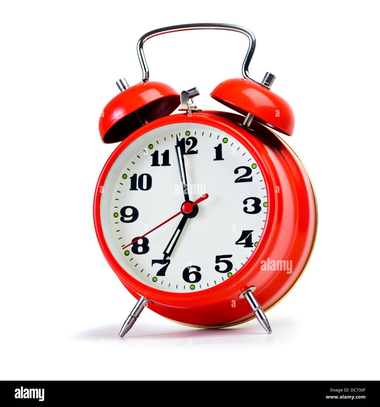 Retro alarm clock over white. Huge size photo - Stock Image