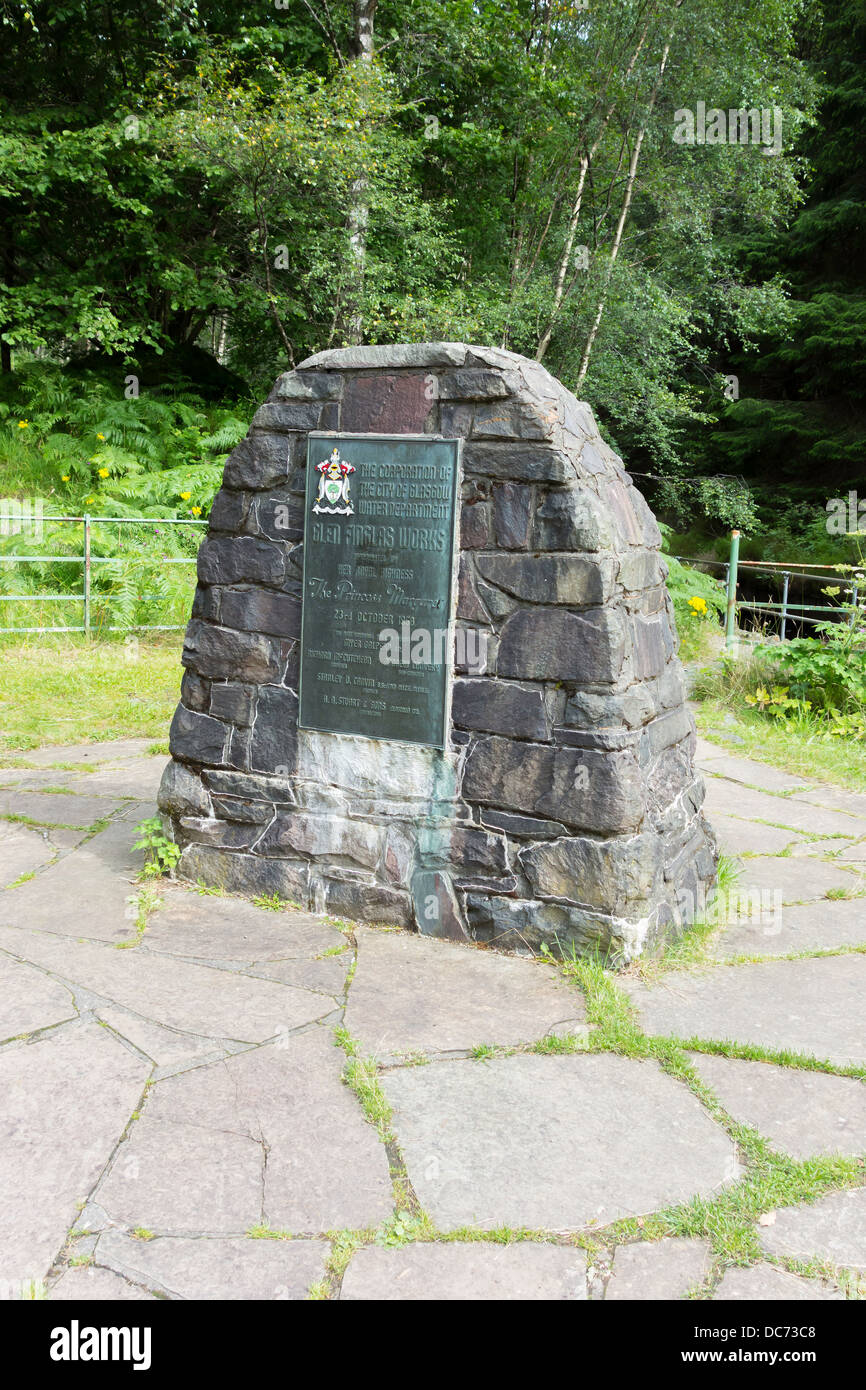 Memorial to the opening of the Glen Finglas Water Works by the Princess Margaret in 1958 by Loch Katrine Trossachs - Stock Image