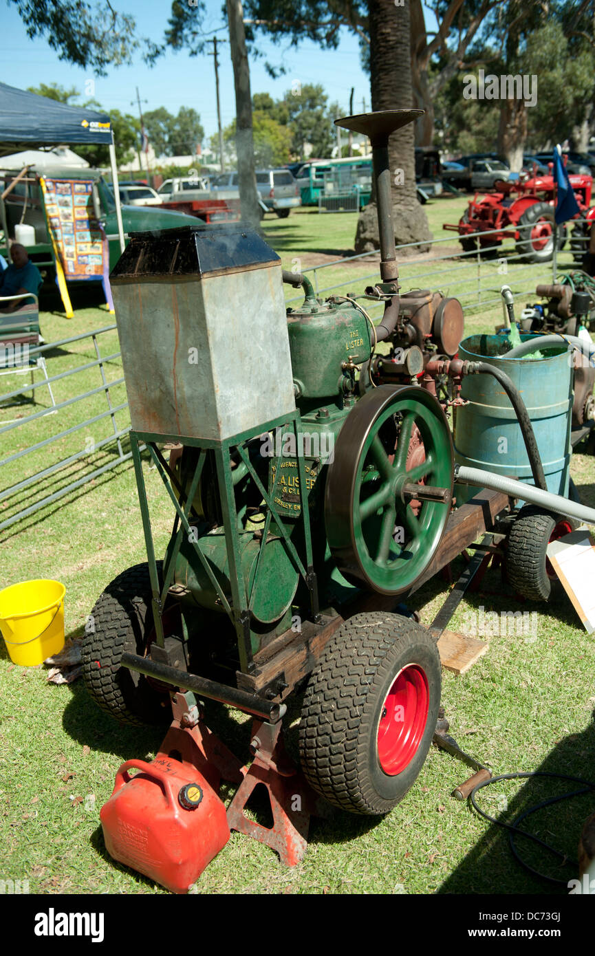 antique 6 hp Type L Lister stationary engine in operation - Stock Image