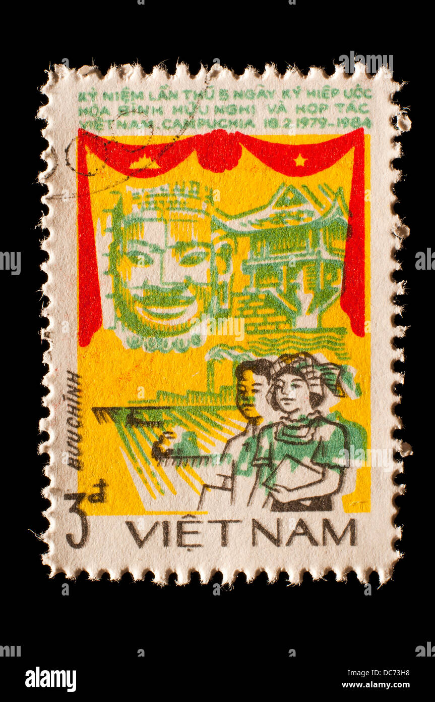 old Vietnam postage stamp - Stock Image