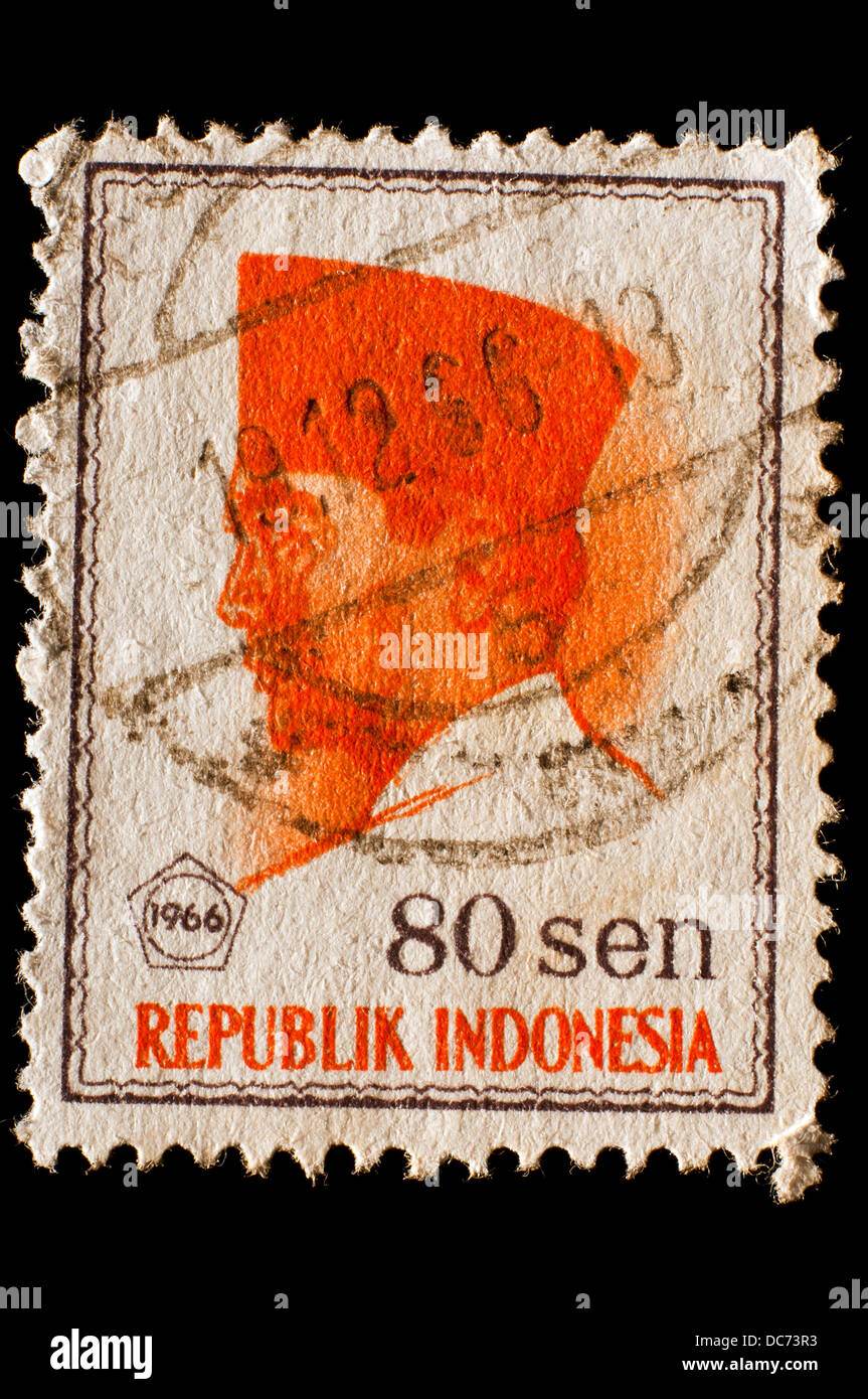 old Indonesia postage stamp - Stock Image