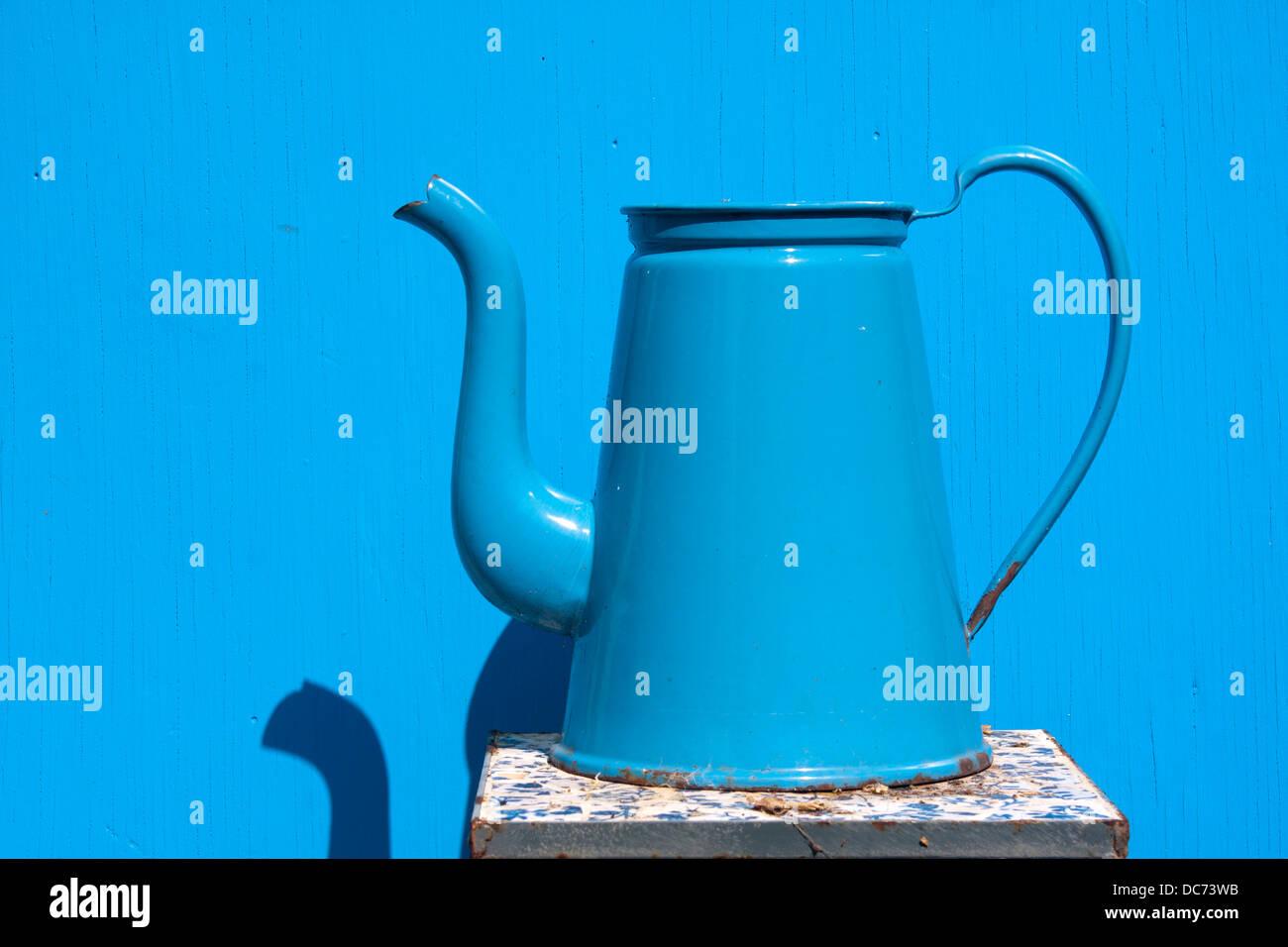 Madam blue enamel coffee pot - Stock Image