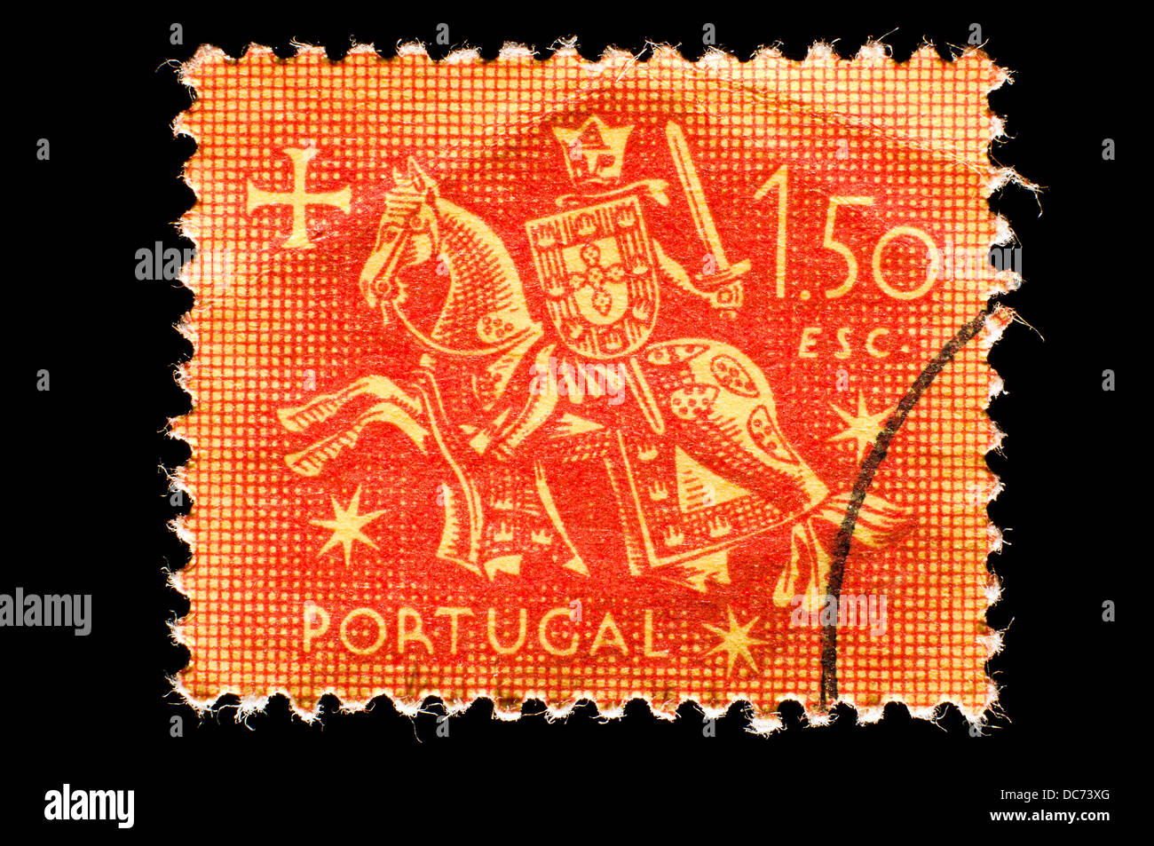 old Portugal postage stamp - Stock Image