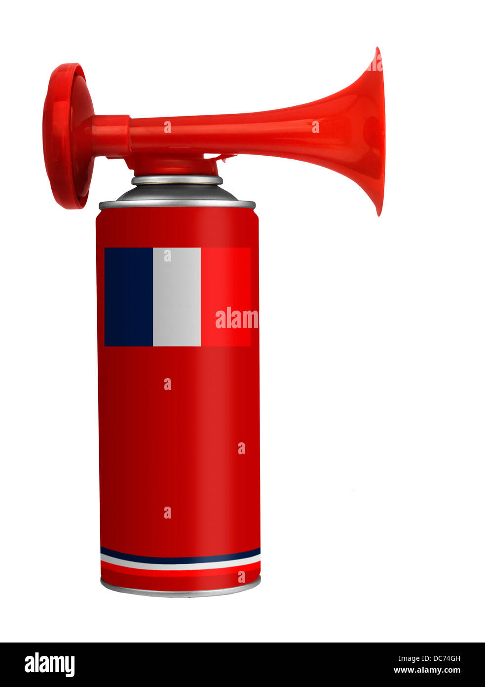 Air horn for France, French soccer aka football - Stock Image