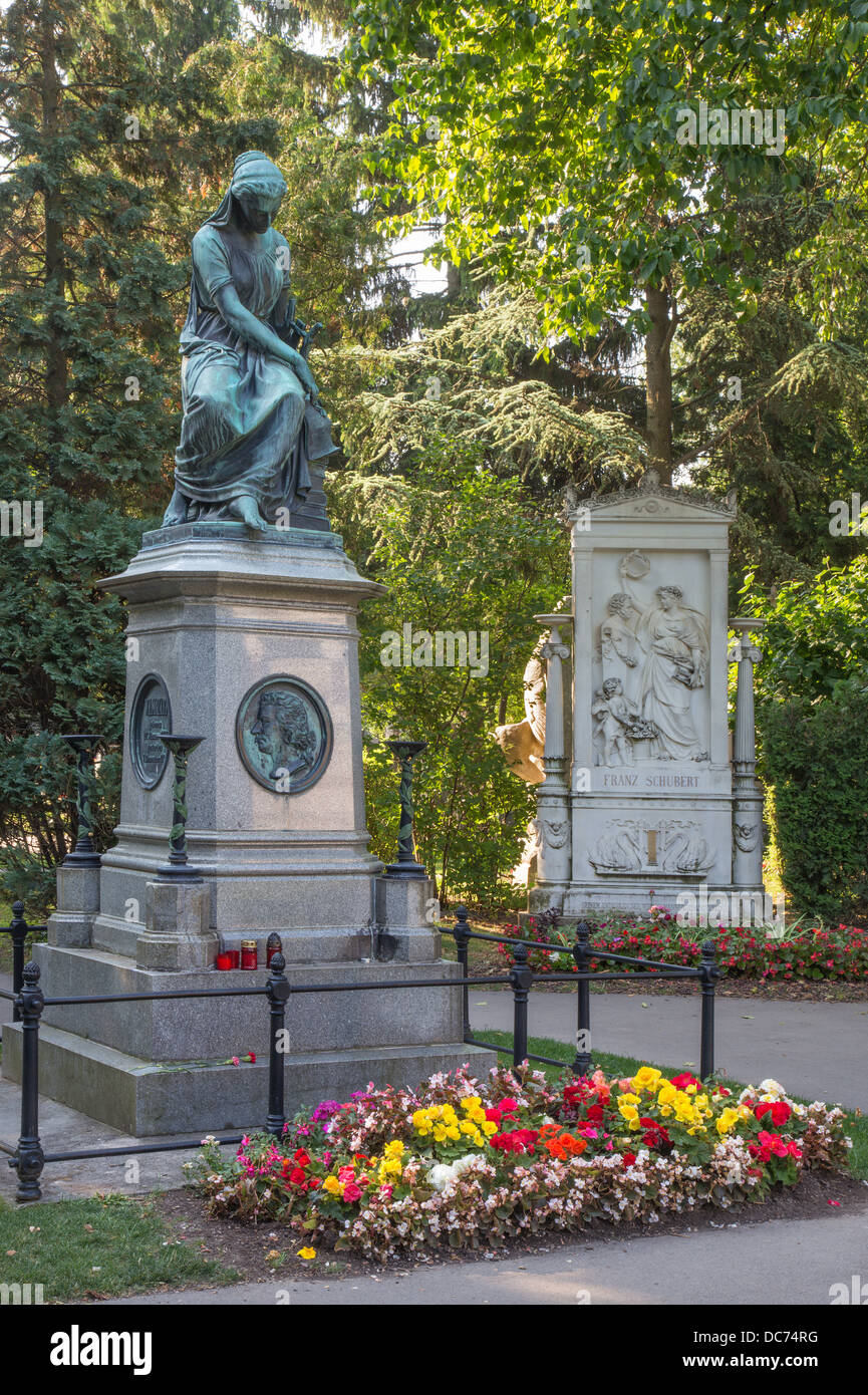 Vienna - Tombs of composers W. A. Mozart and Franz Schubert on the Centralfriedhoff cemetery. - Stock Image