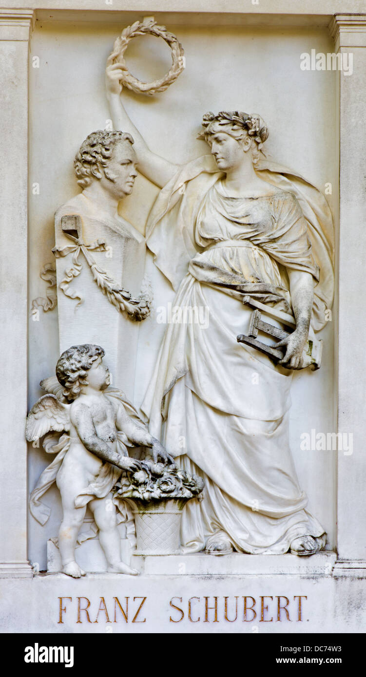 VIENNA - JULY 27: Relief from tomb of composer Franz Schubert on the Centralfriedhoff - Stock Image