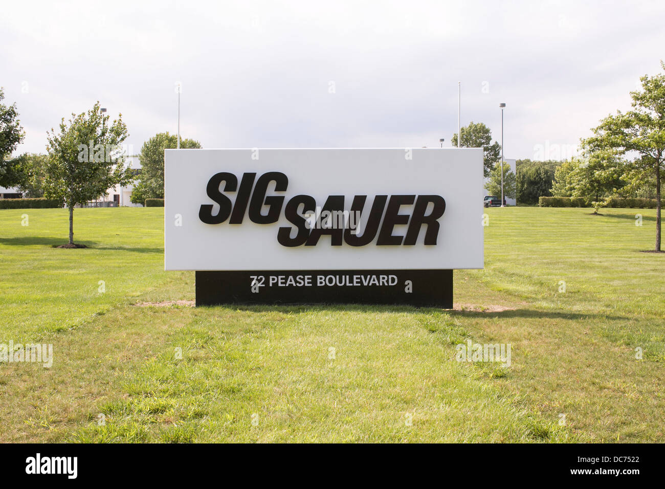 A sign outside of a Sig Sauer firearms manufacturing facility.  - Stock Image