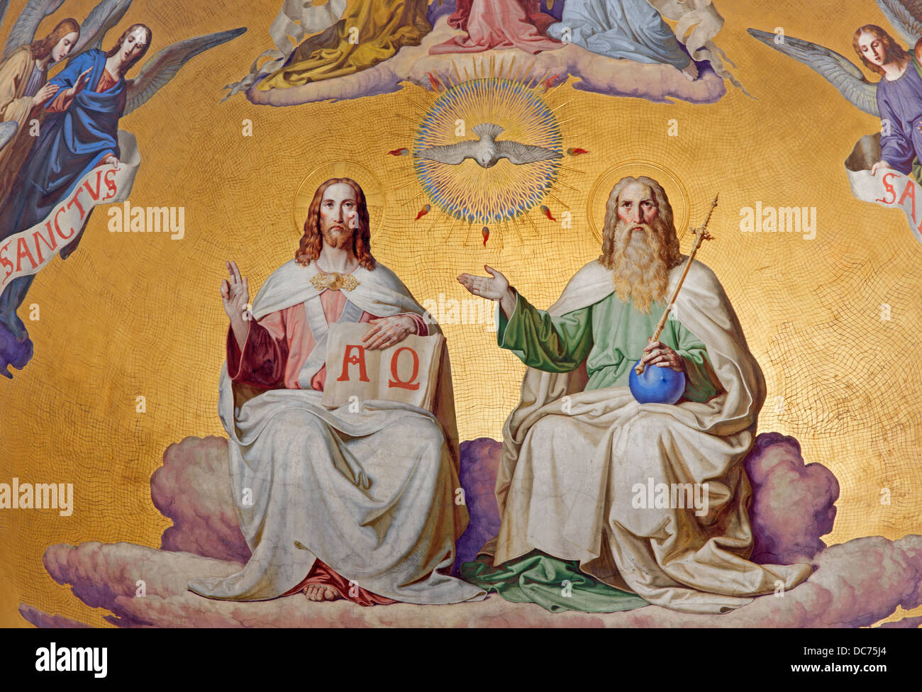 VIENNA - JULY 27: Holy Trinity. Detail from fresco of scene from apocalypse from 19. cent. - Stock Image