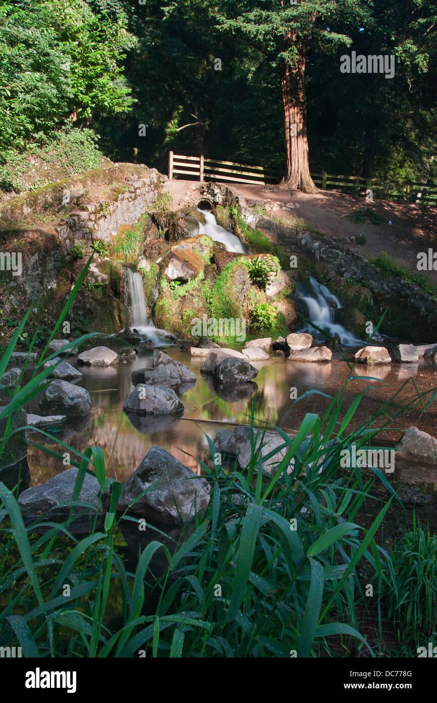 Waterfall in High Wycombe Rye Park Buckinghamshire England - Stock Image