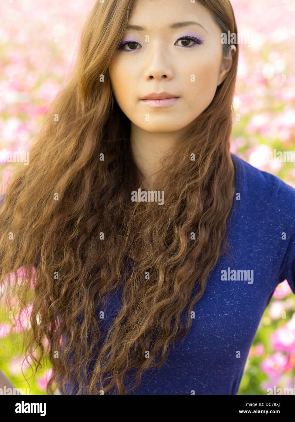 Beautiful Japanese Girl In Field Of Cosmos Flowers, Kin-2652