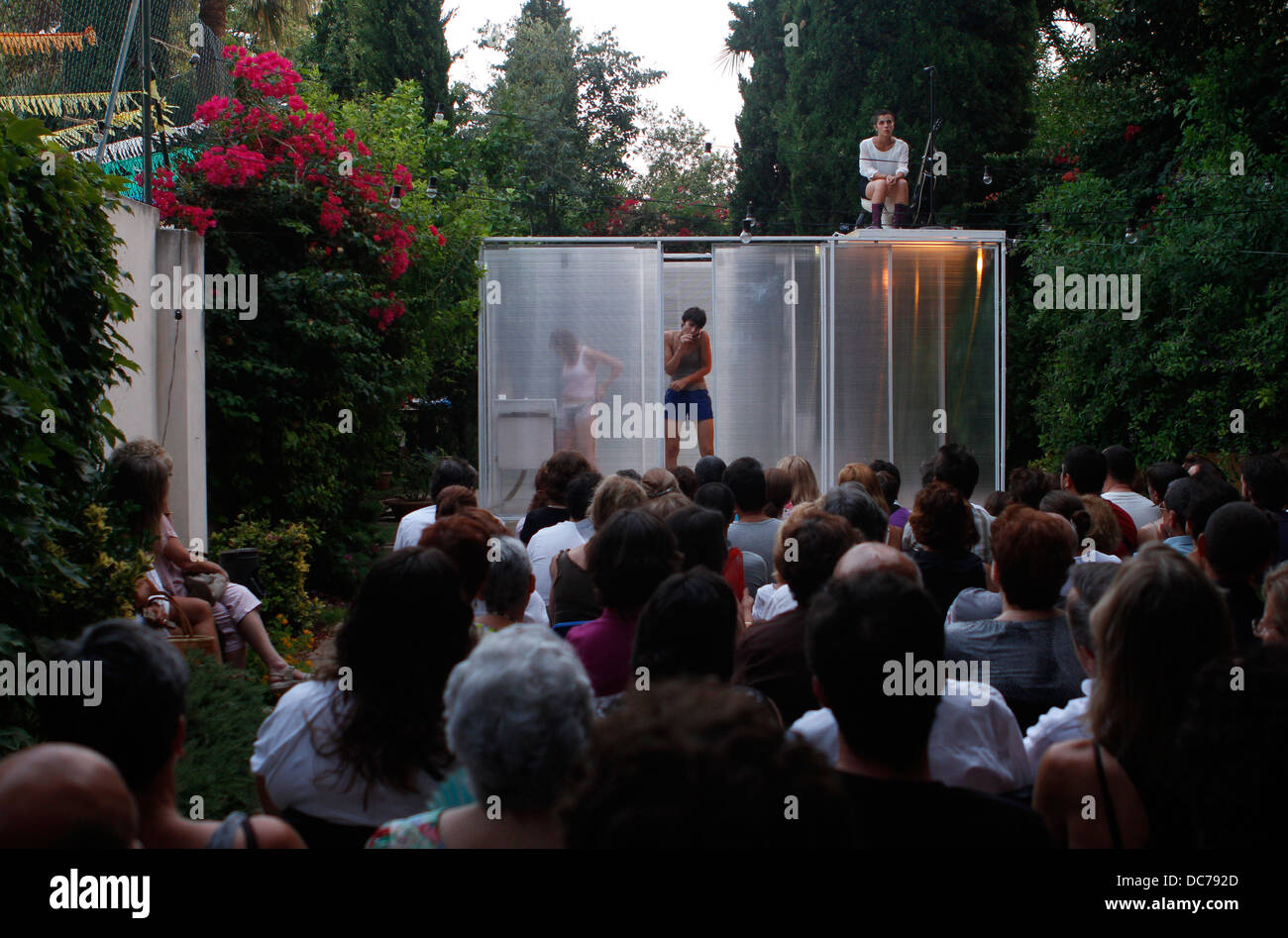 Private theater representation at a garden in the island of Majorca, Spain Stock Photo