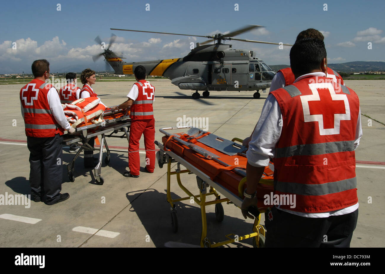 Rescue military and civilian workers seen during an emergency simulation in the island of Mallorca - Stock Image
