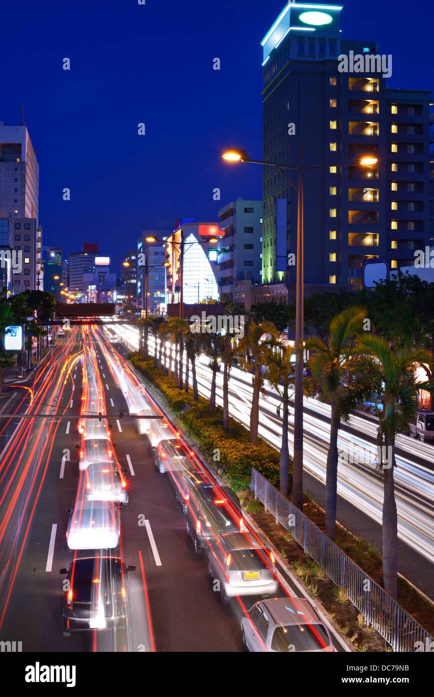 Naha, Okinawa, Japan expressway through the city. - Stock Image