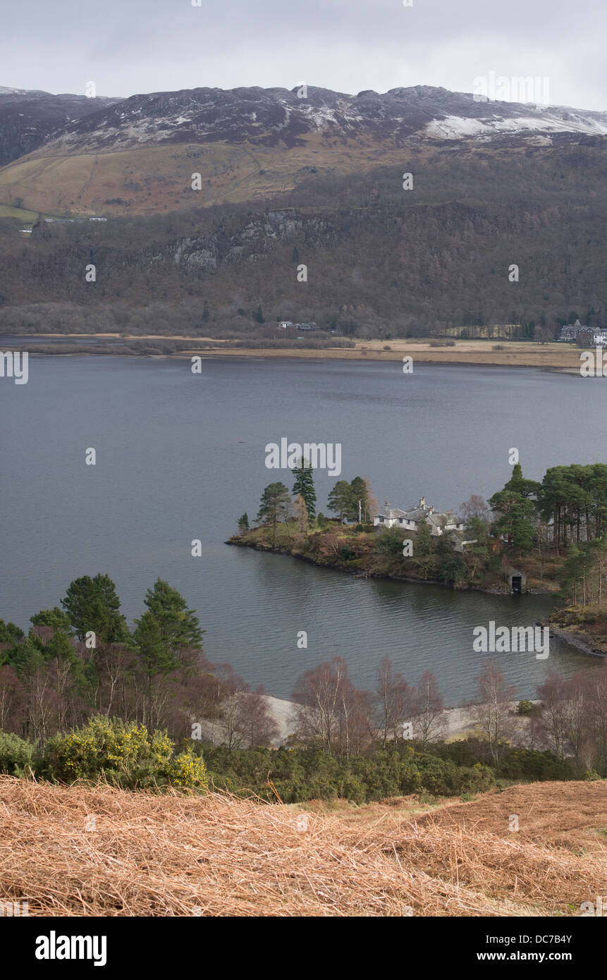 Derwentwater and home of Hugh Walpole who wrote Herries chronicles quartet, Lake District, Cumbria, England, Great - Stock Image