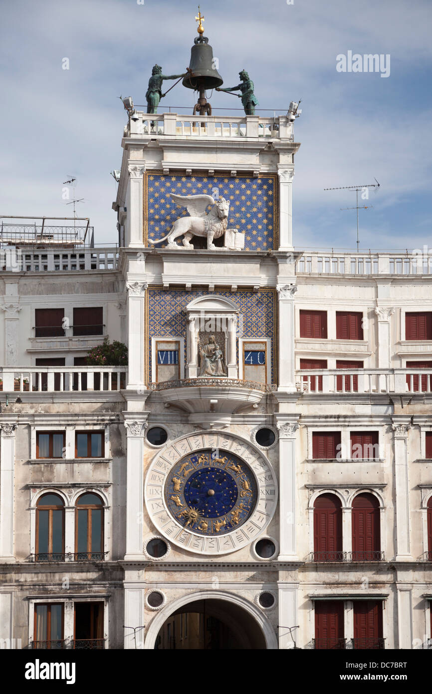 The Clock Tower on St Mark's Square, at Venice (Italy). La Tour de l'horloge sur la Place Saint Marc, à Venise (Italie). Stock Photo