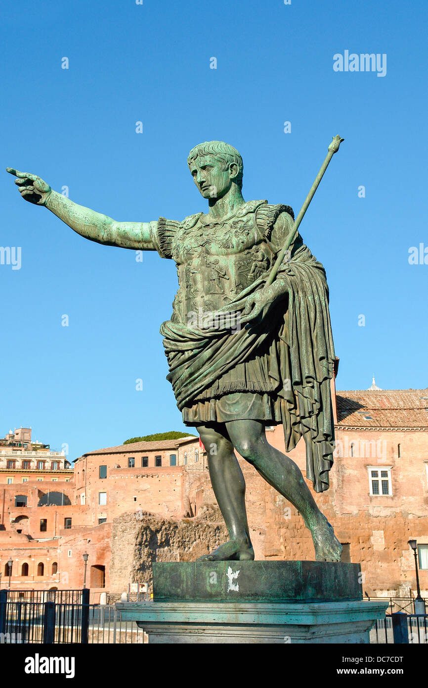 Bronze statue of emperor Caesar Augustus on Via dei Fori Imperiali, Rome, Italy Stock Photo