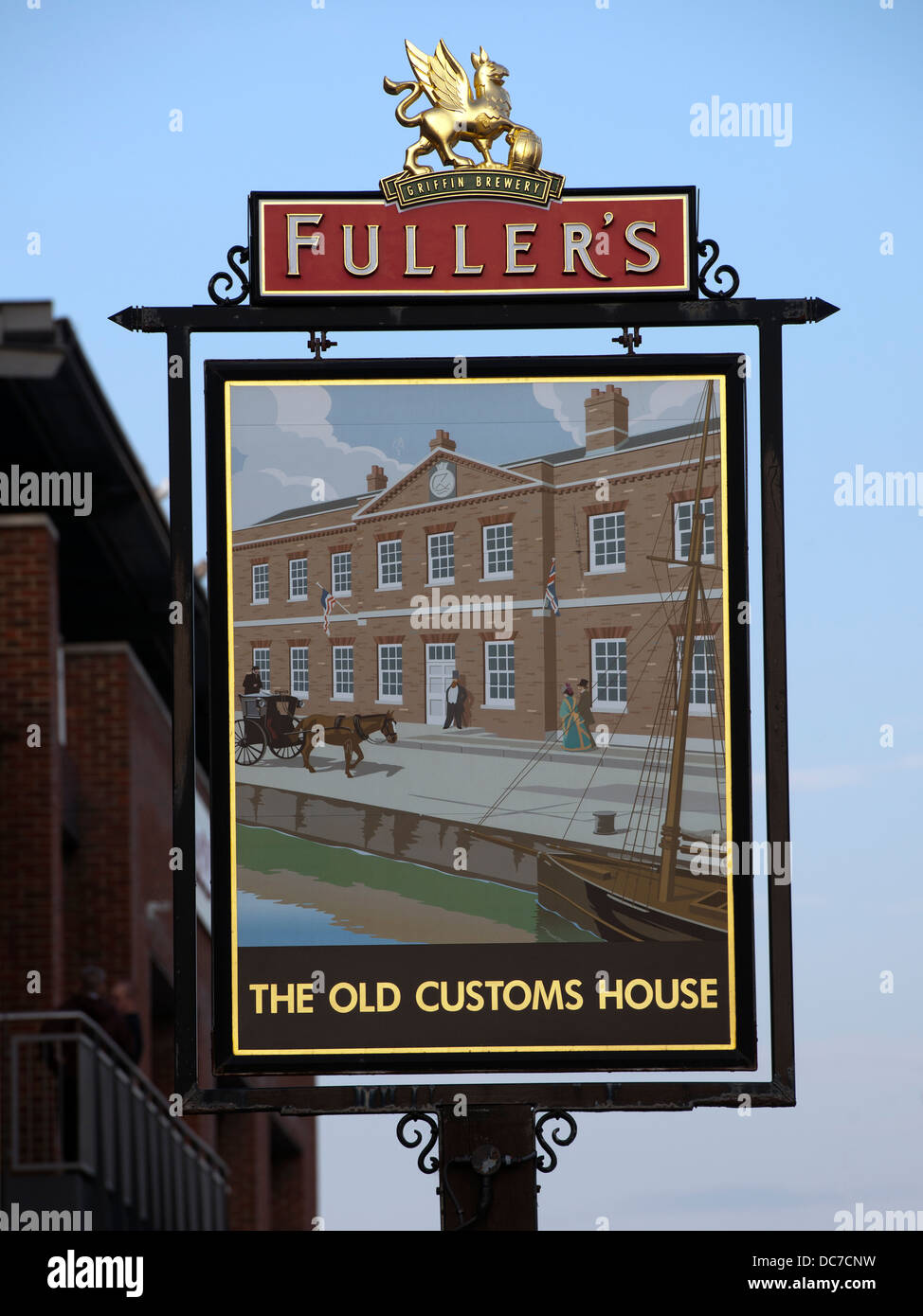Fuller's Pub Sign for 'The Old Customs House' Public House, Portsmouth, Hampshire,UK. - Stock Image