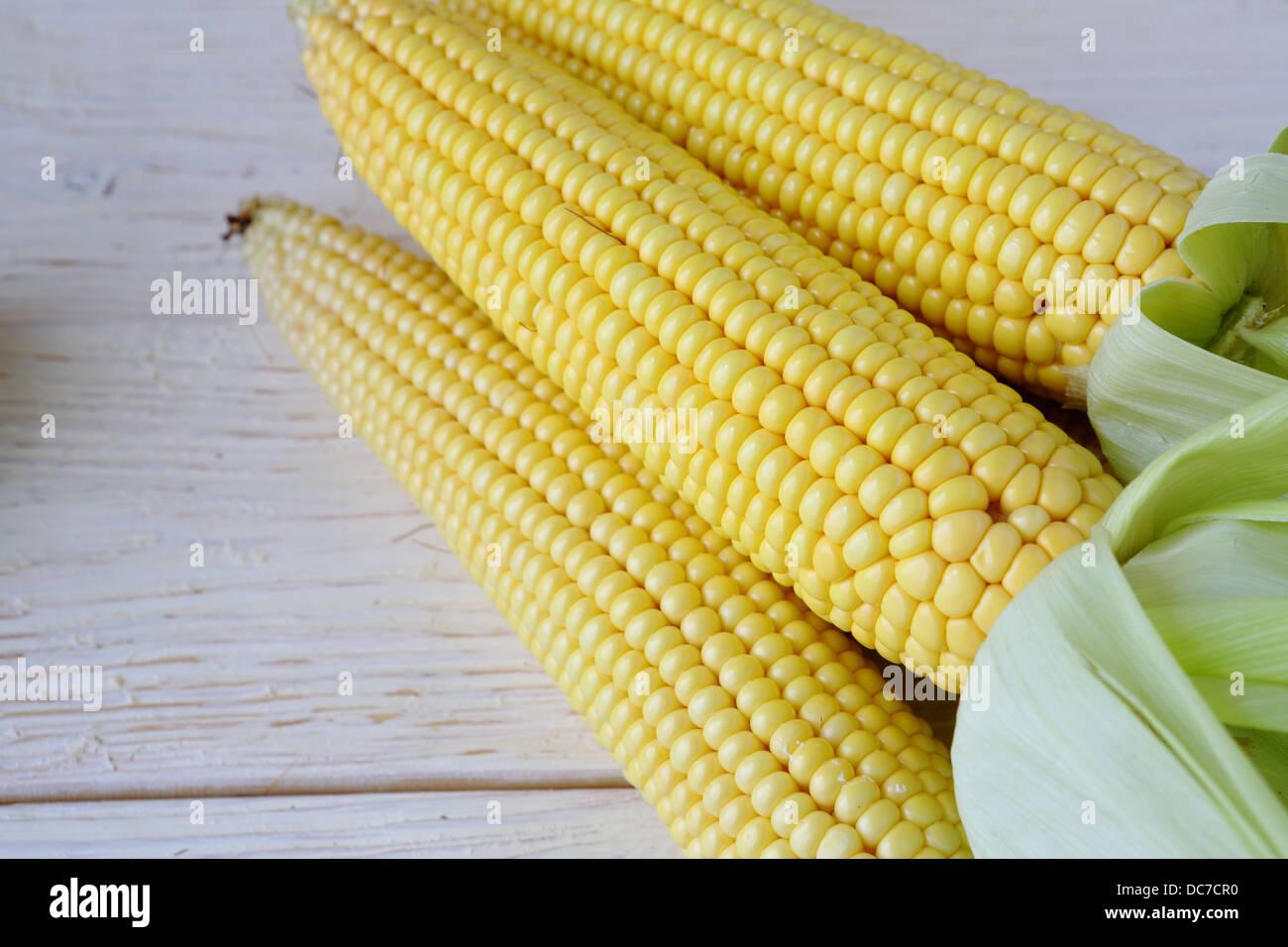 Three fresh corn cobs on the table, food - Stock Image