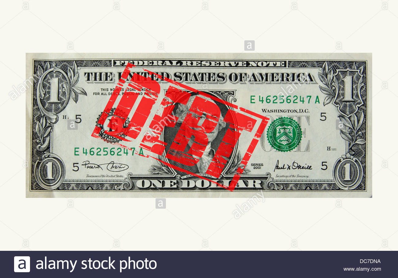 Digital composite Dollar note with debt stamp - Stock Image