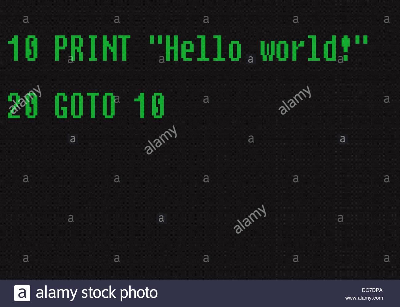 Digital composite Basic computer language 10 Print hello world, 20 goto 10 - Stock Image