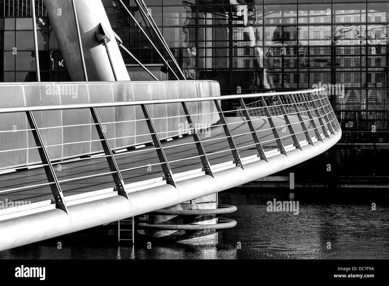 Pedestrian Footbridge Crossing South Dock - Stock Image