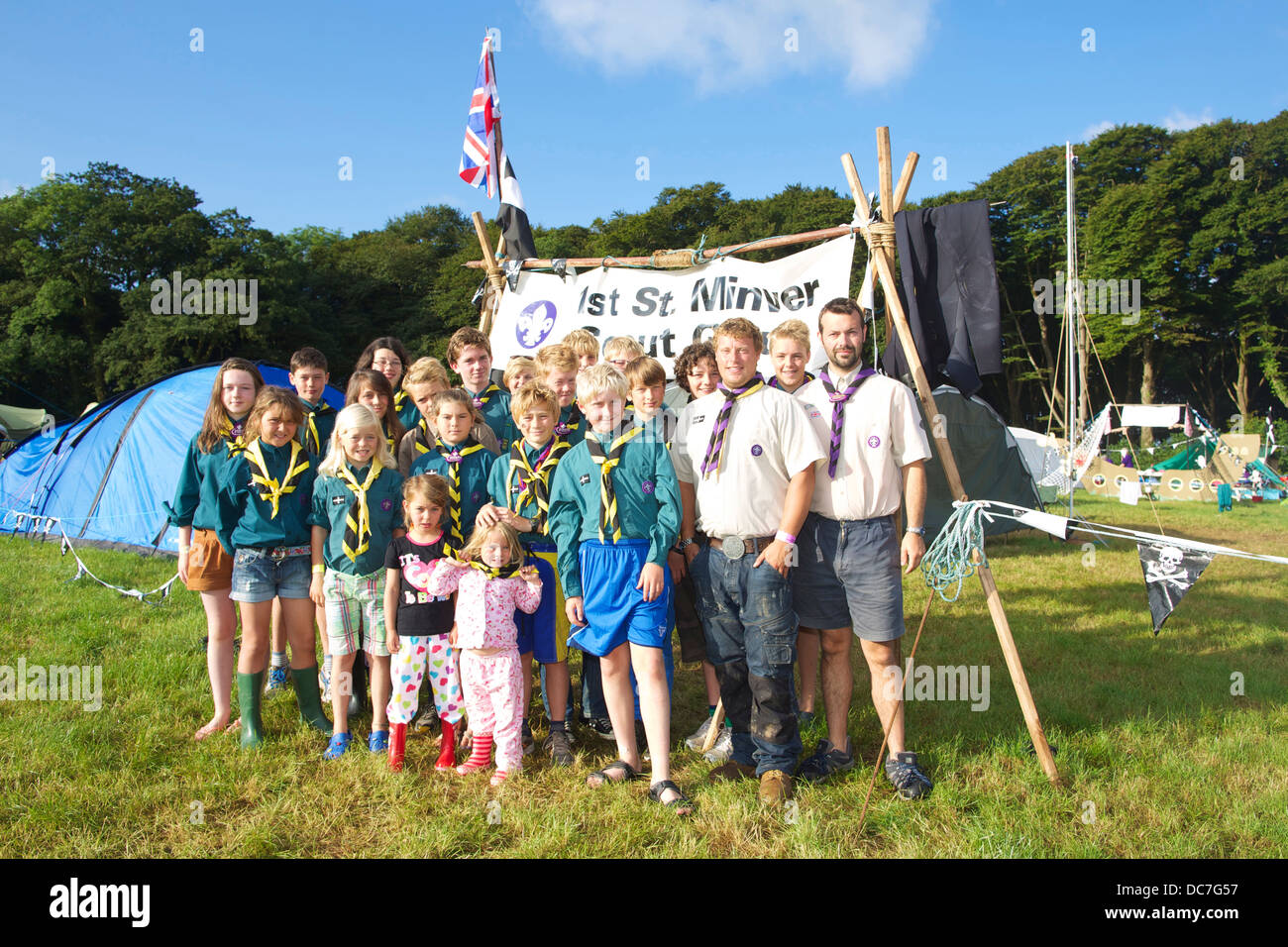 A group of St Minver scouts is having fun at the annual Cornwall Scout Jamboree at Pencarrow - Stock Image