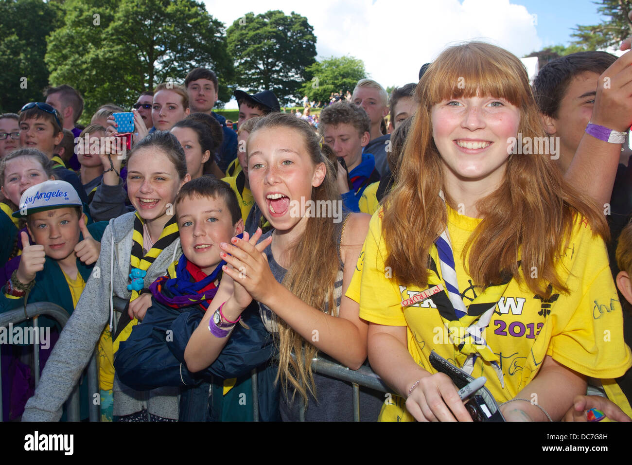 A group of scouts is having fun at the annual Cornwall Scout Jamboree at Pencarrow - Stock Image