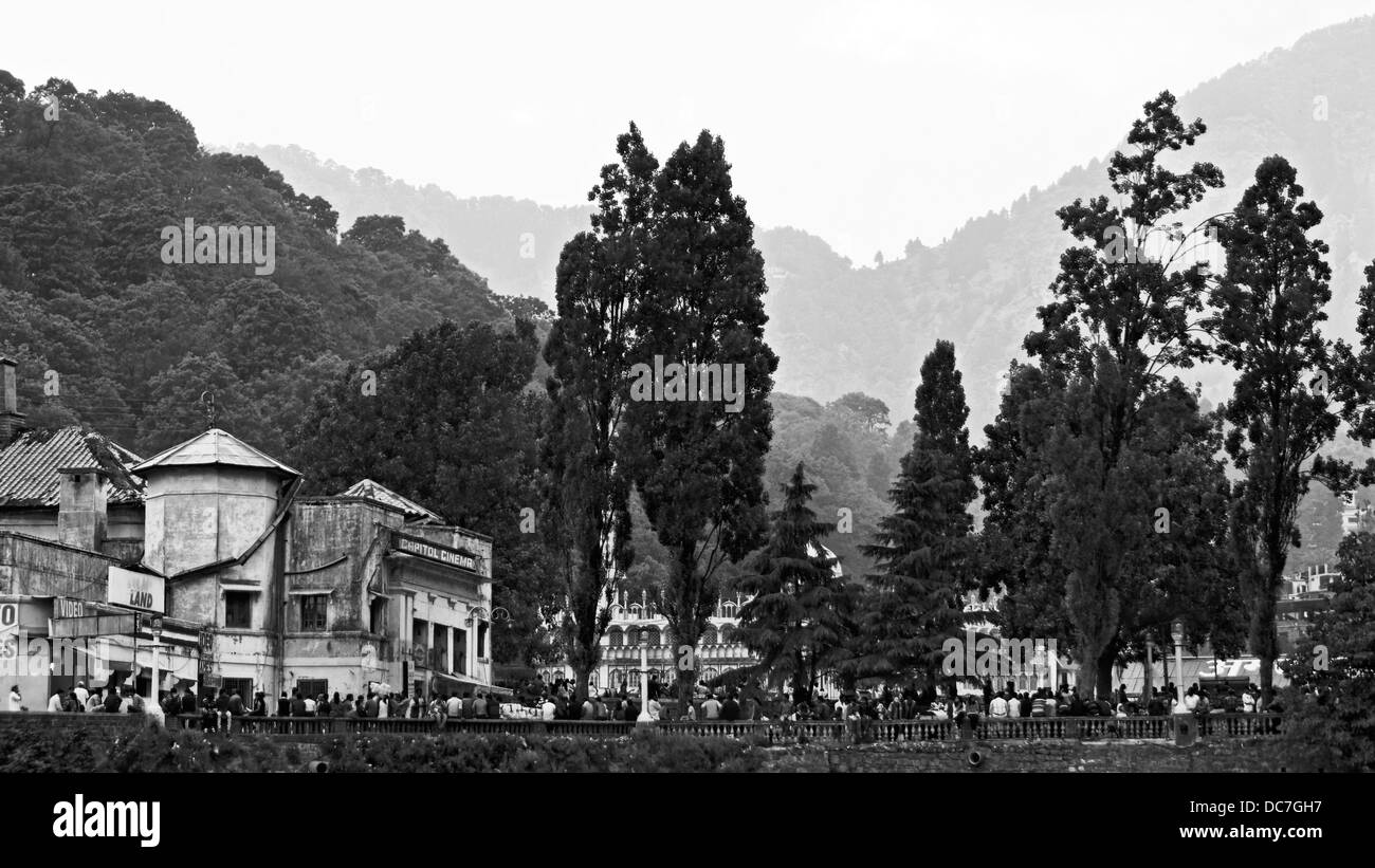 Nainital mall road view from boating point. - Stock Image