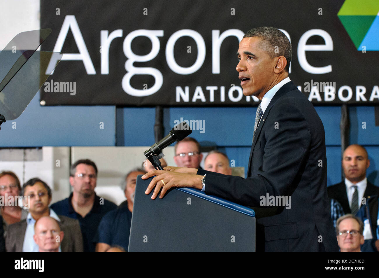 US President Barack Obama speaks on energy policies during a visit to the Argonne National Laboratory March 15, - Stock Image