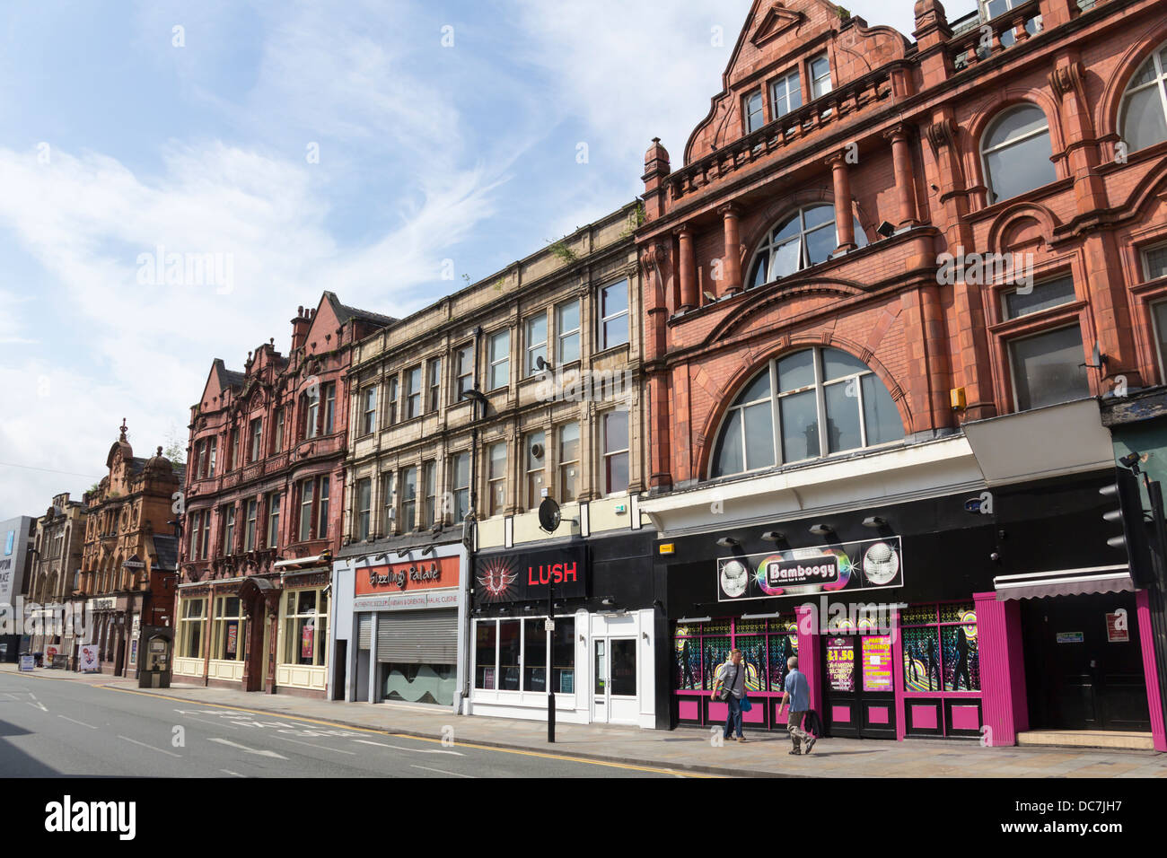 Buildings on the west side of Bradshawgate in Bolton, Lancashire with many bars, pubs, nightclubs. - Stock Image
