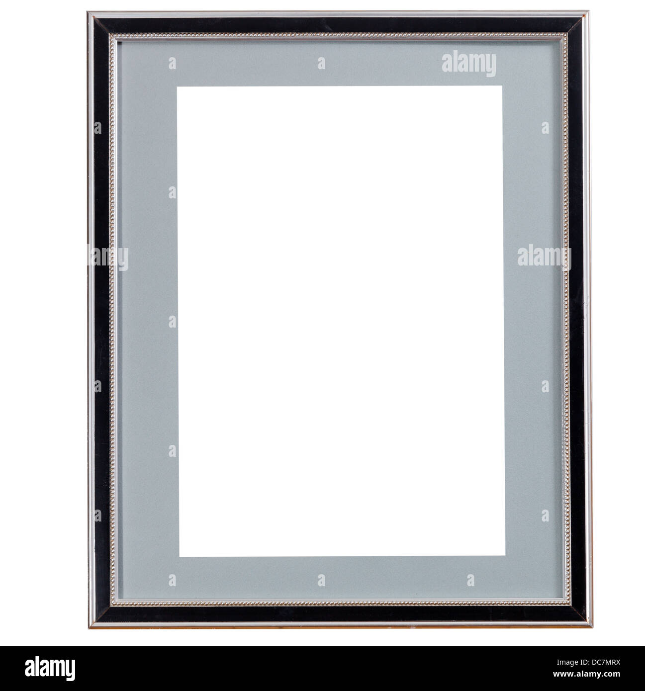 old black narrow picture frame with grey mat with cutout canvas ...