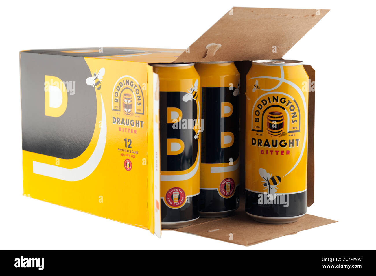 12 can pack of Boddingtons draught bitter ale - Stock Image