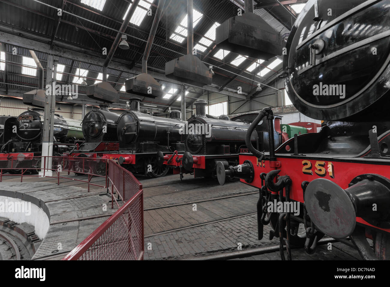 Preserved steam locomotives in the Barrow Hill Roundhouse, Derbyshire - Stock Image