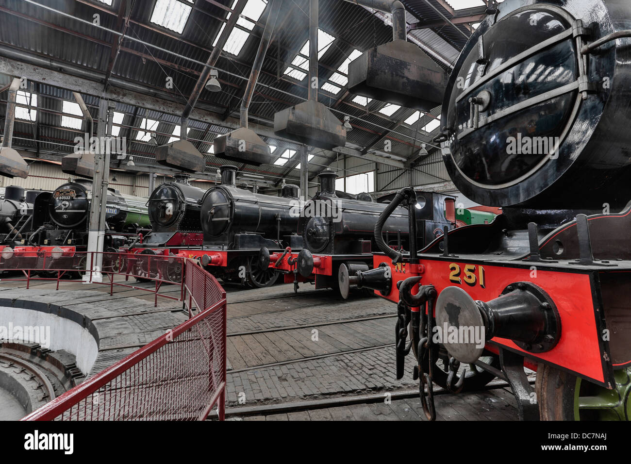 Preserved steam locomotives in the Barrow Hill Roundhouse, Derbyshire Stock Photo