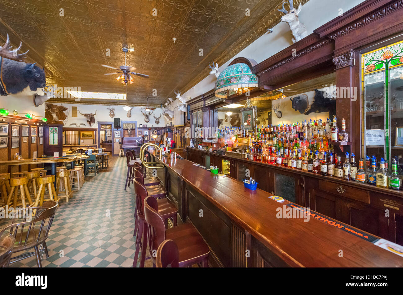 The saloon bar of the historic Occidental Hotel, Main Street, Buffalo, Wyoming, USA - Stock Image